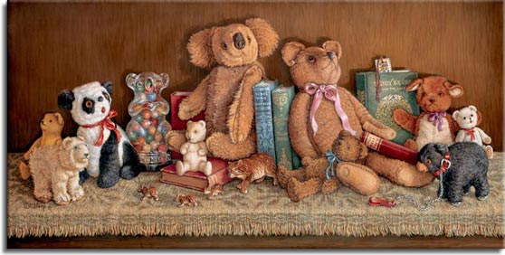 Teddy Bear Collection, a painting of a shelf full of different teddy bears and other bear figures, collectible teddy bears from the 20's to the 70's. One of the Janet Kruskamp Teddy Bear Gallery of Original Oil Paintings and  Original Oil Paintings by Janet Kruskamp