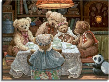 Teddy Bear Wear, a painting of Bentley Bear and his family seated on either a hat box or stacks of books, gathered around a small table covered in a lace cloth, set with a white china tea service. A small stuffed Panda bear looks on from the floor. One of the Janet Kruskamp Teddy Bear Gallery of Original Oil Paintings by Janet Kruskamp