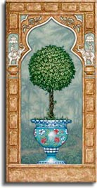Temple Topiary 2, a painting of a carefully sculpted tree in a blue planter, one of Janet Kruskamp's original paintings,  by artist Janet Kruskamp