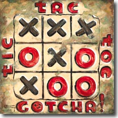 Tic Tac Toe, another original painting available from Janet Kruskamp Studios. The simple child's game is immortalized in this wonderful painting featuring a tic tac toe game of black exes and red ohs, bordered on the top three sides by tic tac toe, with GOTCHA! across the bottom. The game grid's corners look like they could lift off to start a fresh game, the upper corner is worn down to the metal, matching other areas that look extremely worn. This painting is available for purchase as an  acrylic on canvas painting by the artist Janet Kruskamp.