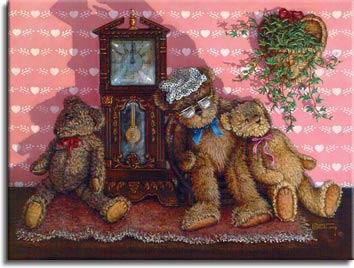 Time Out, a painting of three bears leaning comfortably against a small pendulum clock. On the soft pink heart patterned wall behind is a heart shaped wicker planter holding a healthy green plant. One of the Janet Kruskamp Teddy Bear Gallery of  Original Oil Paintings by Janet Kruskamp
