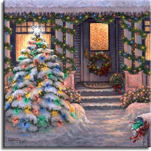 Welcome to Christmas, a wintery painting by artist Janet Kruskamp. The warm glow of a winter sunset suffuses this festive scene. The snowclad pine tree in the yard is festooned with small colorful lights, and sparkling lights are wound around the porch pillars and scalloped along the roof under the short icicles. The short snowy path leads to the porch steps past the chilly mailbox stuffed with last minute presents. A cheerful wreath on the front door and a Welcome mat invite you in to the warm light behind the windows. One of the Interiors and Exteriors Gallery paintings by Janet Kruskamp.