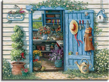 Janet Kruskamp's Paintings - Welcome to My Garden, a painting of the garden potting shed with the tools of the trade, a watering can, hat, apron and spade hanging from the back of the opened door. Flowers and pots fill the inside potting bench. One of the Gardens and Florals Gallery of Original Oil Paintings and  original paintings by Janet Kruskamp