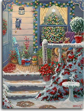 A festive porch awaits you, glowing in twinkling lights. A beautifully decorated Christmas tree fills the large front window, topped by a brilliant white star. Brightly colored potted plants , a wicker chair filled with presents, and a rolled up present are all on the small porch. The little mailbox holds another present wrapped with a purple ribbon while a colorful wreath welcomes you into the door.