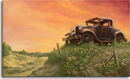 Janet Kruskamp's Americana painting: OUT TO PASTURE, depicts a well-used,well loved Model A Ford that has been lovingly parked for the last time on a rise overlooking a narrow dirt road. A magnificent orange sunset paints the sky behind this rusting relic of the past. A broken down wooden and barbed wire fence runs along the edge of the bluff, the pieces scattered among the rocky soil highlighted by patches of green.Yellow wild flowers pay honor to a trusty family car that has carried 3 generations of one family, safely over that country road below. One can only wonder of the many stories this history changing automobile could tell.