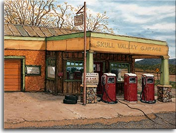 A vintage service station with three red pumps in a southwestern setting. An older building houses the SKULL VALLEY GARAGE in Arizona with a for sale sign asking you to own a piece of history. The one lane canopy's two pillars are supported by bases of rock. Green hills in the background are in front of the road highlighted by a faded yellow sign saying